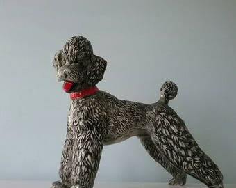 Vintage Poodle Figurine ~ Iconic Mid Century 1950s Kitsch Poodle ~ Dog Statue ~ Retro Kitten ~ Grey, Black, Red ~ 1950s