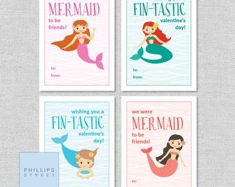 printed MERMAID valentine's day cards . kids Valentines cards . children's classroom valentines . mermaids . customizable