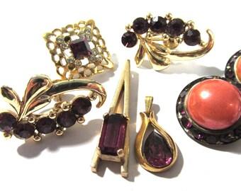 Purple Rhinestone Jewelry for Parts Repair Ten (10) Assorted Earrings VINTAGE Antique RHINESTONE Vintage Wedding Jewelry Supplies (F125)