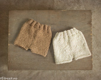 Newborn Shorts, Baby Pants, Diaper Cover, Newborn Props, Baby Props, Brown, Off White Pants, RTS, Natural Props, Baby Boy, Baby Girl, Mohair