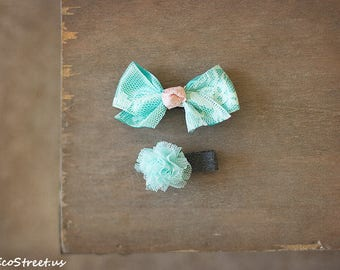 Pink and Aqua Hair Clip, Baby Props, Hair Accessories, Flower Mini  Bow Clips, Aligator Clip, Toddler hair Accessories