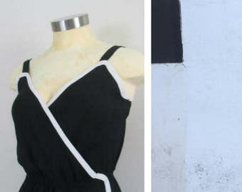 1960s Black and White Dress Shannon Rodgers Jerry Silverman Sleeveless Wrap