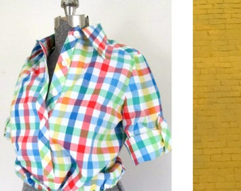 Rainbow Check 1960s Pullover Blouse Roll Up Sleeves Crop Top Mid Century Prep