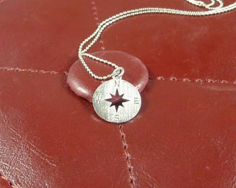 Going Places. Silver Compass Necklace. 16k white gold plated. modern. delicate. whimsical. layering necklace. symbolic jewelry.
