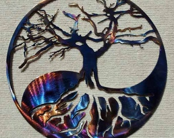 "Yin Yang Tree Metal Art - 14"""