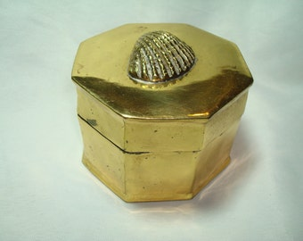 1980s Brass Hexagon Box with Scallop Shell.