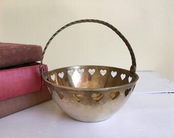 Vintage Brass Basket, Pierced Hearts Border, Foldable Handle, Wedding Flower Basket