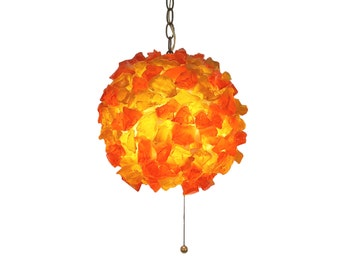 Mid-Century Modern Chunky Lucite Resin Rock Candy Hanging Swag Lamp