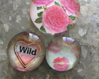 Wild Love of three Glass Magnets
