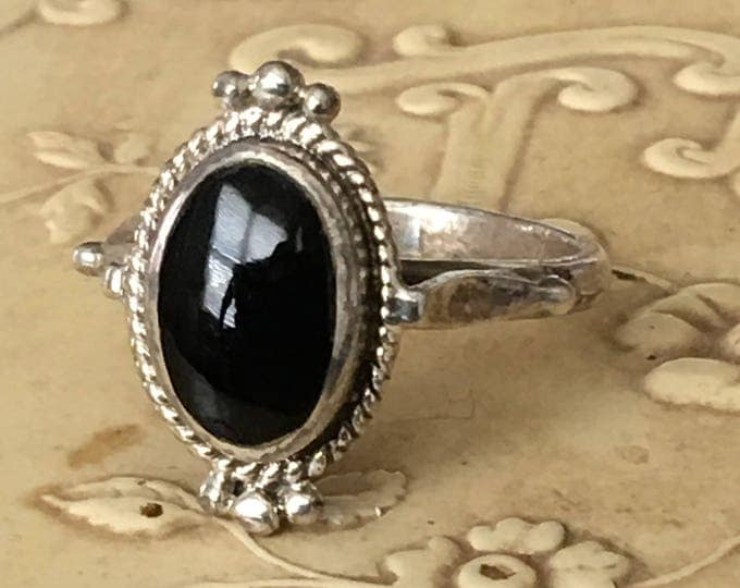 Vintage Black Onyx Sterling Silver Ring Boho Tribal Size 6 3/4