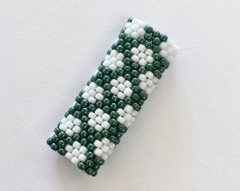 Speckled Peyote Stitch Dreadlock Beads - Polka Dots - White and Teal / Turquoise