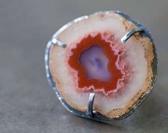 Laguna Agate Ring, Sterling Silver Cocktail Ring, Agate Slice Ring, Drusy Ring - Size 8.75 Size 9 - Muse and Reverie