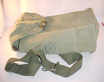 Army Surplus Bag Belgian Military Bag Canvas and Leather Bag Wine Tote Bag