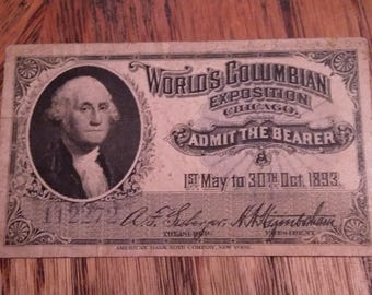 1893 World's Columbia Exposition Chicago Ticket