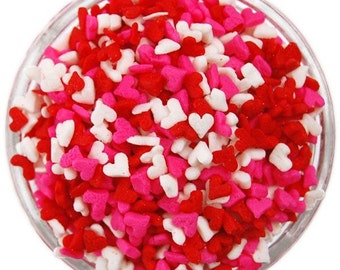 Mini Heart Sugar Sequins, Red, Pink, White, Sprinkles, Cake Pops, Valentine Hearts, Cake Decorating Supplies, Cupcake Decor