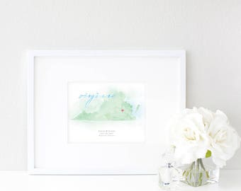 Virginia Watercolor Map | Destination Map Print | Personalized Watercolor Map | Honeymoon Map | Anniversary Map | Watercolor Wedding Map