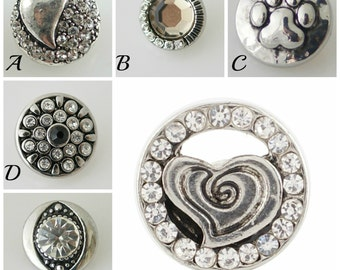 Mini snap charms for mini snap jewelry like Petite Ginger Snaps Jewelry. 12.8 mm snap charms, heart snap