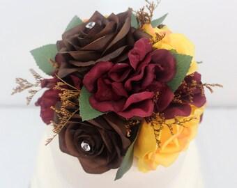 Wedding Cake Topper - Yellow, Brown Rose, Burgundy Hydrangea Fall Silk Flower Cake Topper, Wedding Cake Flowers, Fake Flower Topper