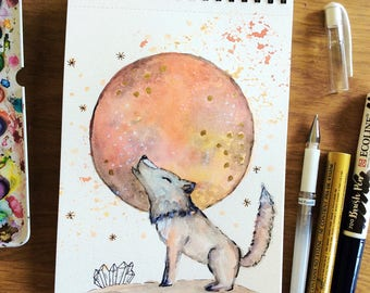 """Watercolor moon - May, flower moon, wolf and moon, Watercolor painting, mystic, wolf, spirit animal, whimsical art, 8x5"""", crystals"""