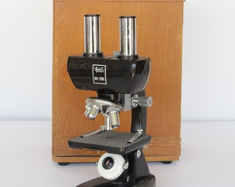 Vintage Selsi 80X-1200X Microscope in Wood Box for Display or Repair
