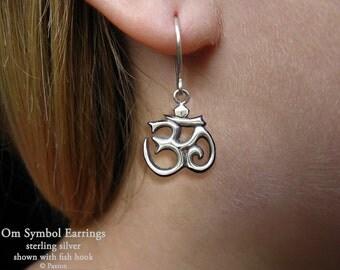 Om Symbol Earrings Sterling Silver Hand Carved & Cast Fish Hook or Post Aum Yoga Meditation earrings