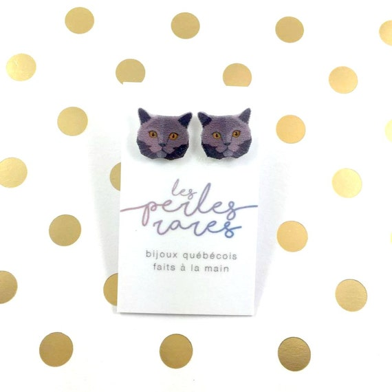 british short hair cat, earring, catlover, blue hair cat,  plastic, stainless stud, handmade, les perles rares