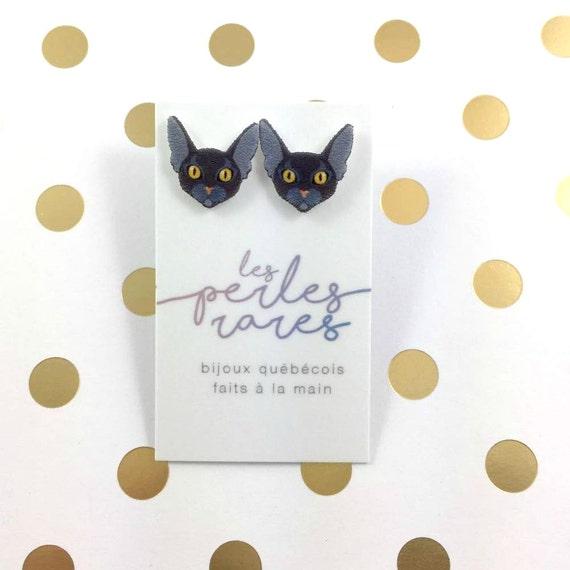 black siamese Cat, classique siamese cat, earring, catlover, Meezer cat,  plastic, stainless stud, handmade, les perles rares