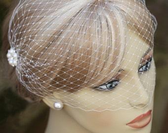 Bandeau Style Veil Ivory Blusher Pearl Rhinestone Hair Comb Birdcage Veil Wedding Veil Bridal Veil Bride's Veil