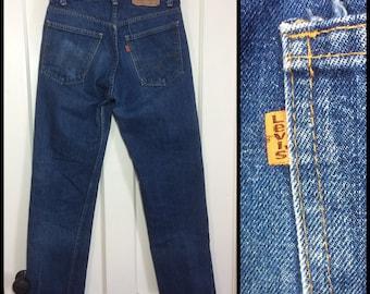 Distressed 505 Levi's straight leg denim Blue Jeans 31x32 worn in wallet fade Orange Tab made in USA boyfriend #274