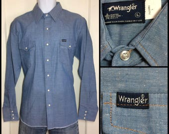 deadstock 1980's Wrangler Blue chambray work snap western shirt size Large nos