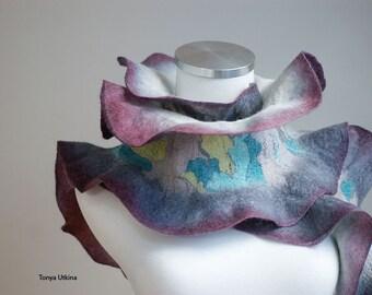 Ruffled hand felted scarf wool, silk, hand dyed