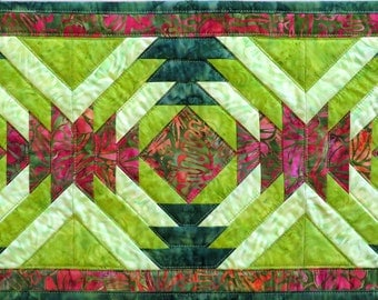 Bright Red and Green Quilted Batik Table Runner
