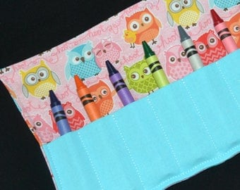 Owls Crayon Roll, girls birthday party favors, Owl Birthday, stocking stuffer, Crayola Roll Up, pink and aqua, Easter gift, girls gift