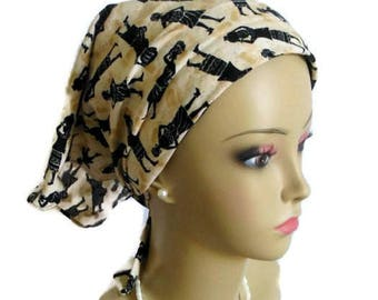 Lined Bandanna African Design On Tan Alopecia Cap, Beach Scarf, Children Chemo Headwear, Cancer Gift, Cancer Patient Scarf, Girl Hair Cover
