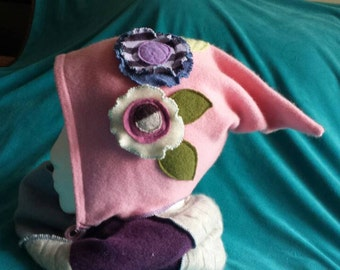 Floral Dusty Pink Gnome Elf Pixie Recycled Cashmere Hat
