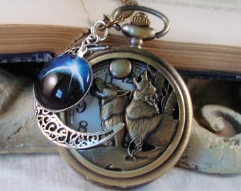 Call of the Wild - Wolf Pair Steampunk Pocket Watch with chain - Mated pair for Life - Lobo - Lone Wolf - Wolf Pack - Feral Wolf  C 2-15