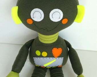 SALE - Robot - Toys - Kids - Baby & Toddler - Doll - Stuffed Toy - Olive Green - Citron - Neon Yellow- Ready Made - Plushie