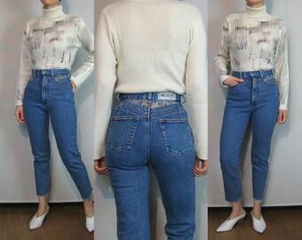 80s Frayed Hem Jeans / Chevron Stitched Jeans / High Waist Cuff Off Jeans / Raw Hem Jeans / Medium Blue Jeans