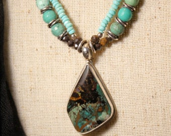 Collawood with Turquoise and green opals and boulder opals on sterling silver necklace by EvyDaywear
