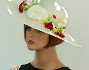 Wedding Hat, Kentucky Derby Hat,  Formal Hat, Church Hat, Wide Brim Hat, Saucer Hat,  Occasion Hat