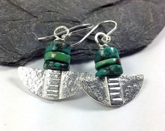 Turquoise and silver Blade earrings
