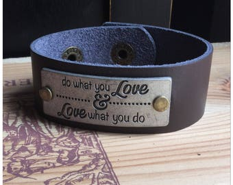 Do What You Love & Love What You Do Leather Cuff Bracelet