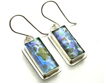Stunning One of a Kind Hand Made  Colorful Rare Roman Glass 925 Silver Earrings