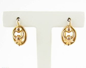 Vintage 9ct Earrings, Pierced Drops with Double Hoop & Leaf Design.