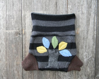 Upcycled Merino Wool Soaker Cover Diaper Cover With Added Doubler Black & Gray Stripes/ Brown  With Tree Applique SMALL 3-6 M Kidsgogreen
