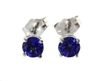 Sapphire Unique Stud Earrings studs Gemstone 14K White Gold Earrings Bridesmaid Gift Wedding Jewelry Anniversary Gift