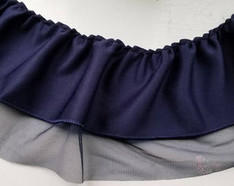 Navy ruffled scuba with navy butterfly mesh at bottom for altered couture, decor and more 11 yards wholesale
