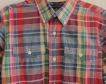 Men's Plaid Madras Shirt Hilfiger Long Sleeve Button Up Cotton Summer Shirt Size Small Slim Fit