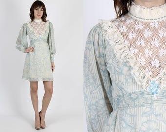Bohemian Dress Prairie Dress Boho Dress Hippie Dress Summer Dress Vintage 70s Sheer Lace Dress Ivory Floral Hippie Festival Mini S