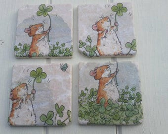 Cute Dormouse in Clover Patch Coaster Set of 4 Tea Coffee Beer Coasters